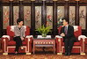 Mrs Lam (left) meets with the Governor of Sichuan Province, Mr Wei Hong.